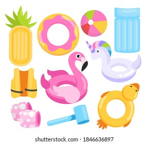 Toys water vector illustration set. Cartoon inflatable swimming sea beach or pool equipment collection with plastic mattress in pineapple shape, ball, cute toy rings and lifesavers isolated on white