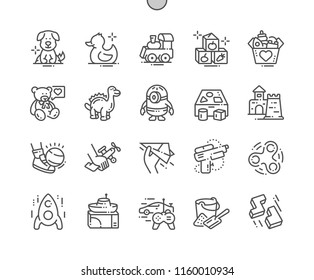 Toys Well-crafted Pixel Perfect Vector Thin Line Icons 30 2x Grid for Web Graphics and Apps. Simple Minimal Pictogram