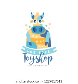 Toyshop for kids logo design, cute badge can be used for baby store, kids market vector Illustration on a white background