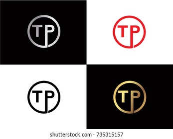 TP Circle Letter Logo Design with RED GOLD BLACK Silver Vector Illustration