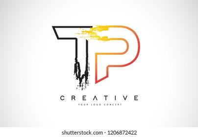 TP Creative Modern Logo Design Vetor with Orange and Black Colors. Monogram Stroke Letter Design.