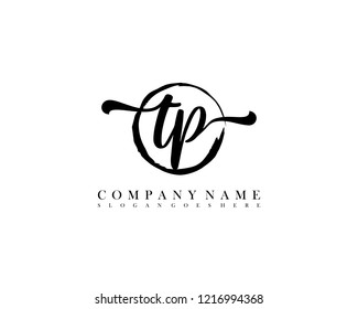 TP initial handwriting logo circle template vector