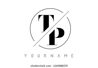 TP Letter Logo with Cutted and Intersected Design and Round Frame Vector Illustration
