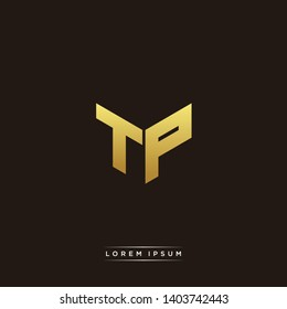 TP Logo Letter Initial Logo Designs Templete with Gold and Black Background