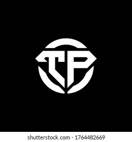 TP monogram logo with diamond shape and ring circle rounded design template