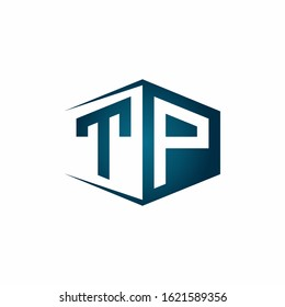 TP monogram logo with hexagon shape and negative space style ribbon design template
