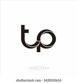 tp t p Initial Letter Split Lowercase Modern Monogram linked outline rounded logo