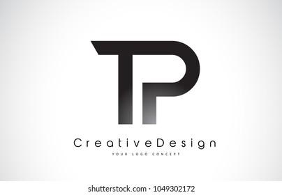 TP T P Letter Logo Design in Black Colors. Creative Modern Letters Vector Icon Logo Illustration.