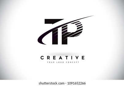 TP T P Letter Logo Design with Swoosh and Black Lines. Modern Creative zebra lines Letters Vector Logo