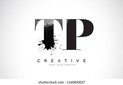 TP T P Letter Logo Design with Black Ink Watercolor Splash Spill Vector Illustration.