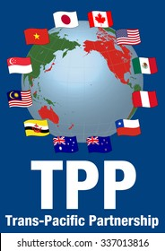 TPP(Trans pacific partnership) and Negotiating countrie's flags, vector illustration