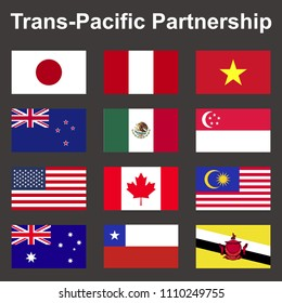 TPP(Trans-pacific partnership) and Negotiating countrie's flags,
