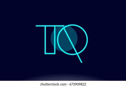 tq t q blue line circle letter logo alphabet creative company vector icon design template