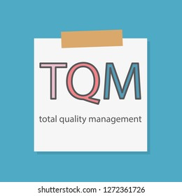 TQM Total Quality Management written on a notebook paper- vector illustration