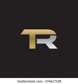 TR company linked letter logo golden silver black background