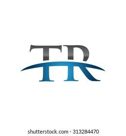 TR initial company blue swoosh logo