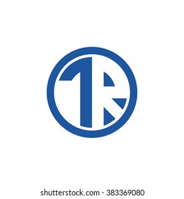 TR initial letters circle business logo blue