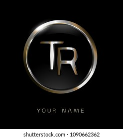 TR initial letters with circle elegant logo golden silver black background