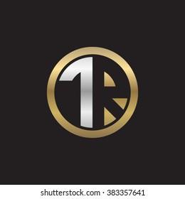 TR initial letters circle elegant logo golden silver black background
