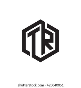 TR initial letters looping linked hexagon monogram logo