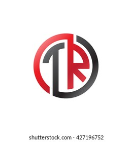 TR initial letters looping linked circle logo red black