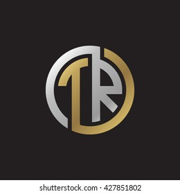 TR initial letters looping linked circle elegant logo golden silver black background
