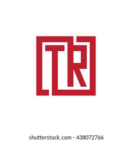 TR initial letters looping linked square logo red