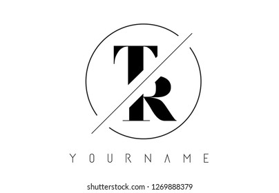 TR Letter Logo with Cutted and Intersected Design and Round Frame Vector Illustration