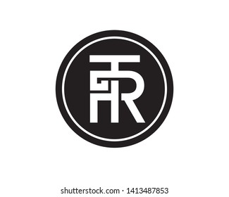 TR letter logo, T and R Combination .black and white style