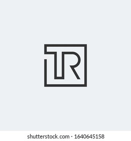 TR letter monogram linear logo in square shape.