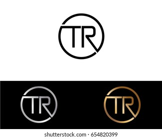 Tr Logo. Letter Design Vector with Red and Black Gold Silver Colors