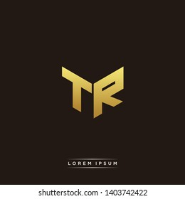 TR Logo Letter Initial Logo Designs Templete with Gold and Black Background