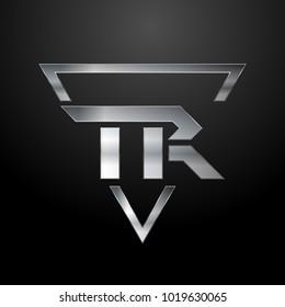 TR Logo, Metal Logo, Silver Logo, Monogram, Polygon