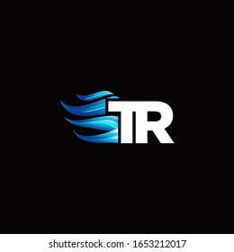 TR monogram logo with blue fire style design template