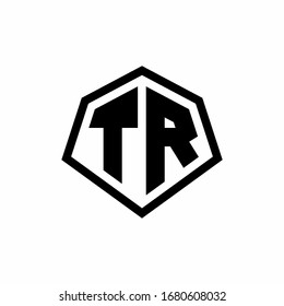 TR monogram logo with hexagon shape and line rounded style design template isolated on white background
