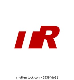 TR negative space letter logo red