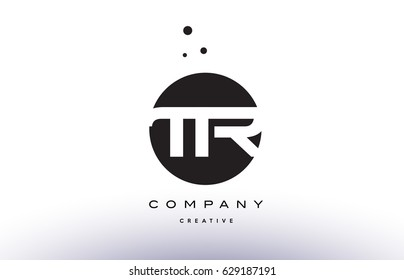 TR T R alphabet company letter logo design vector icon template simple black white circle dot dots creative abstract