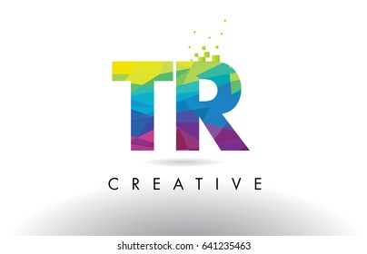 TR T R Colorful Letter Design with Creative Origami Triangles Rainbow Vector.
