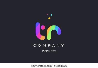 tr t r  creative rainbow green orange blue purple magenta pink artistic alphabet company letter logo design vector icon template