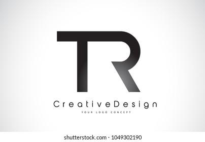 TR T R Letter Logo Design in Black Colors. Creative Modern Letters Vector Icon Logo Illustration.