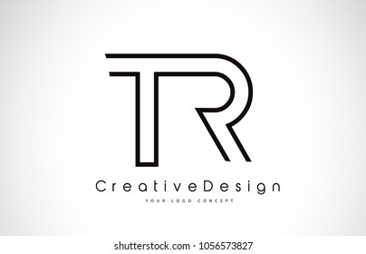 TR T R Letter Logo Design in Black Colors. Creative Modern Letters Vector Icon Logo Illustration.