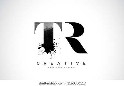 TR T R Letter Logo Design with Black Ink Watercolor Splash Spill Vector Illustration.