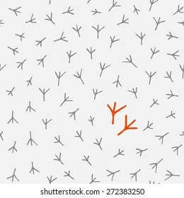Trace of birds, seamless vector pattern. Hand drawn chicken footprints in childish style. Chicken traces naive background. Standing out of the crowd.