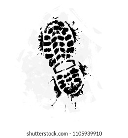 A trace from a boot on a white background. A black imprint of a sports boot. Stylized footprint