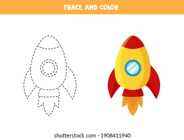 Trace and color cute space rocket. Educational game for kids. Writing and coloring practice.