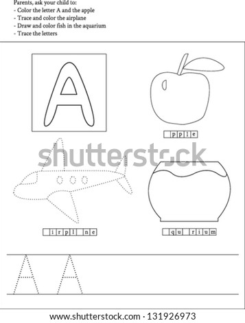 Trace Color Letter A Worksheet Preschoolers Stock Vector Royalty
