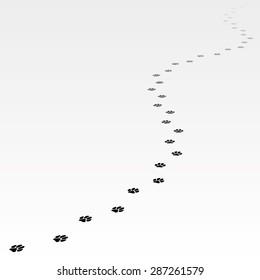 Trace of dog leading far away. Editable Vector EPS8.