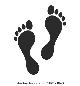 Trace of human foot. Footprint path, footprints, silhouette sign of human traces. Vector illustration