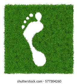 Trace human foot from green grass, vector illustration.