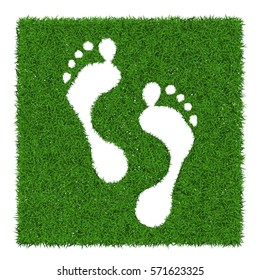 Trace human foots from green grass, vector illustration.